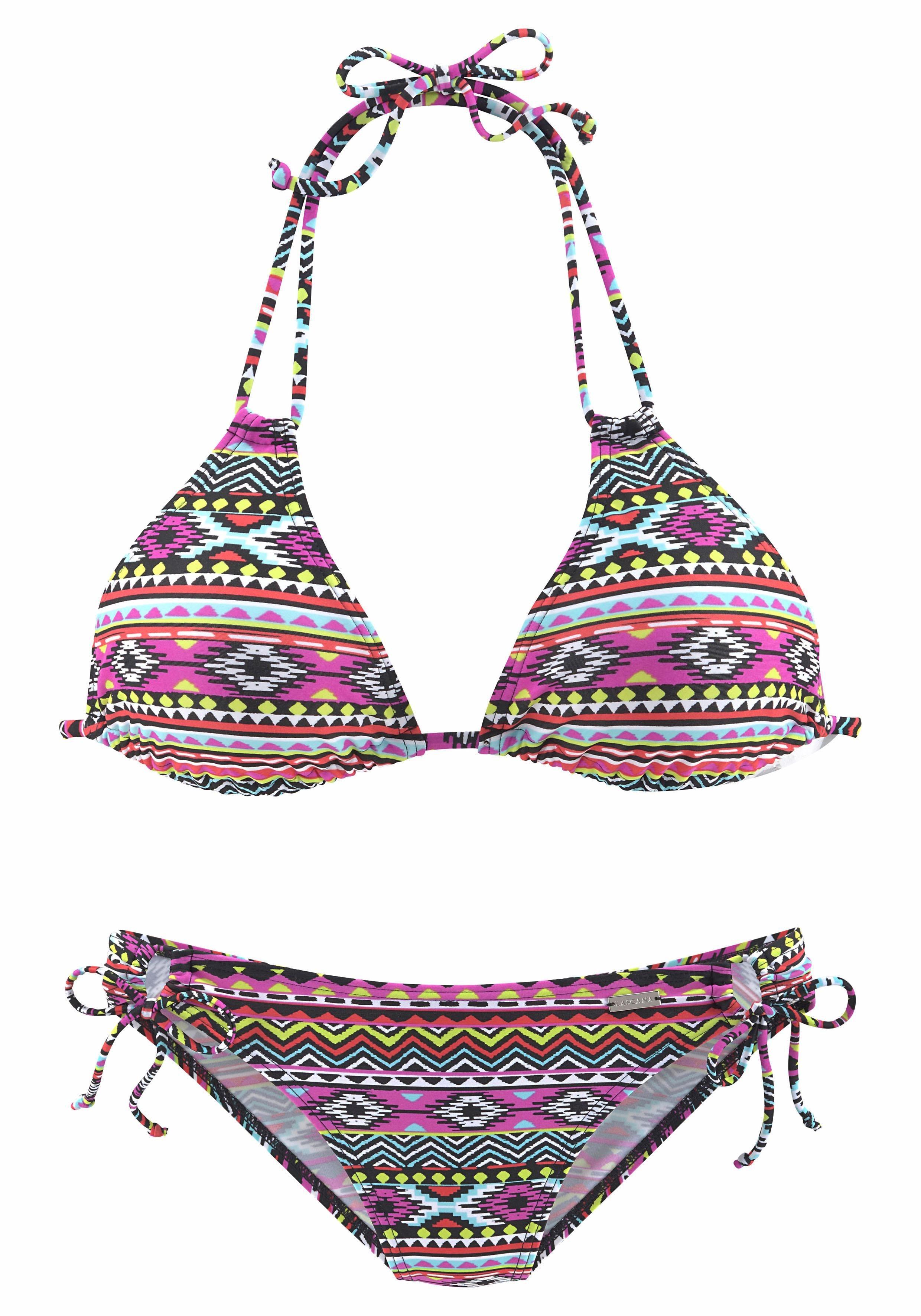 Damen LASCANA Triangel-Bikini im kontrastreichen Ethnomuster bunt, mehrfarbig, schwarz | 04893865777486