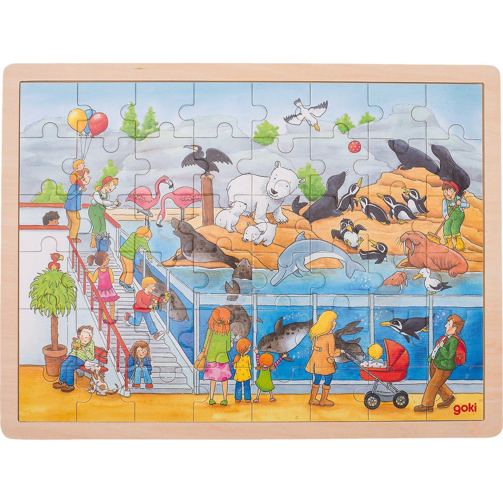 goki Holzpuzzle 48 Teile Ausflug in den Zoo