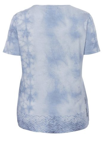 FRAPP T-Shirt mit Batikmuster und Pailletten-Brusttasche