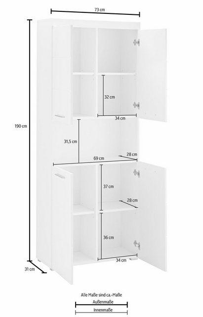 Badschränke - trendteam Hochschrank »Amanda« Höhe 190 cm, Badezimmerschrank mit 4 Türen und 1 offenen Fach, verstellbare Zwischenböden, MDF Fronten in Hochglanz oder Holzoptik  - Onlineshop OTTO