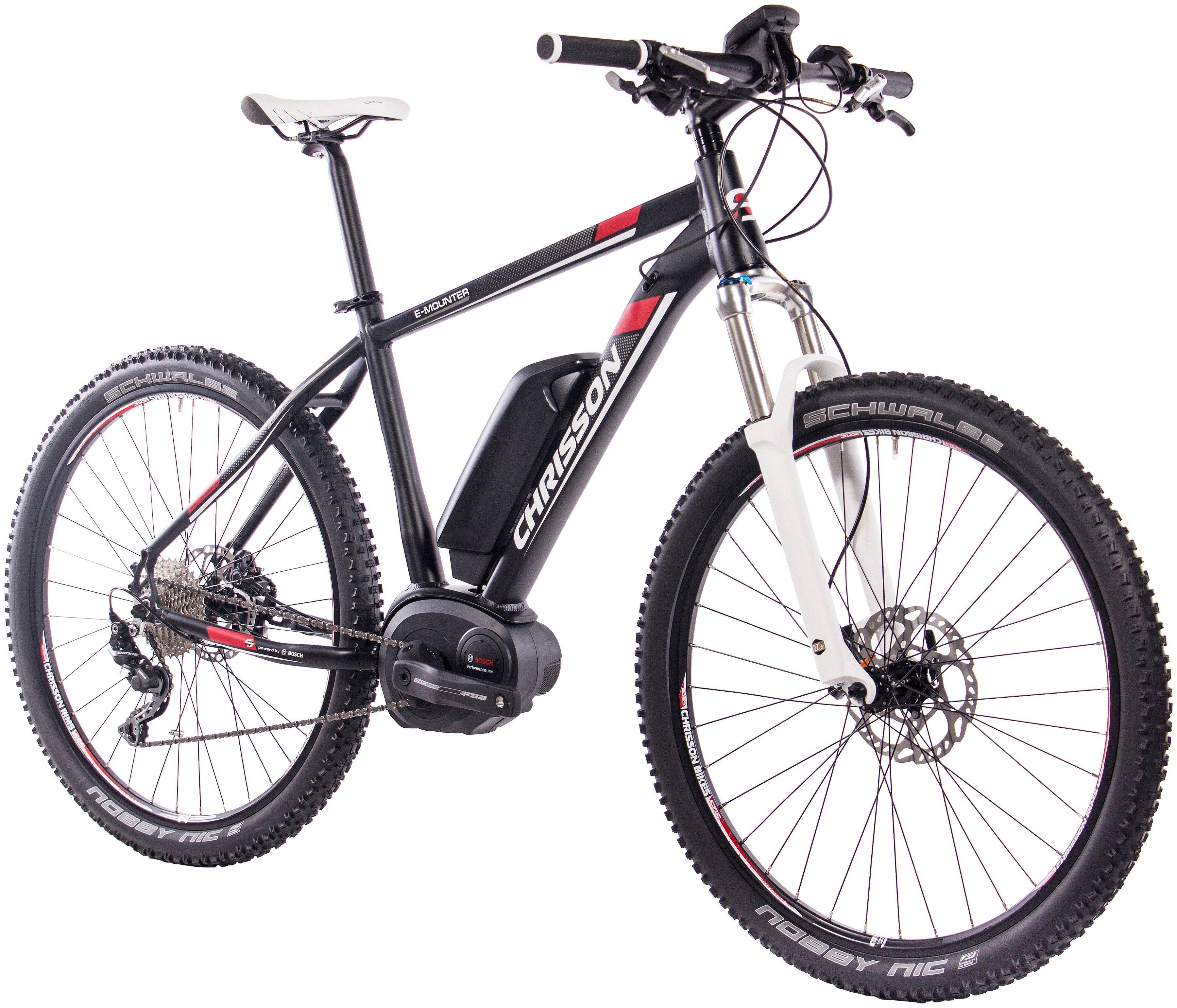 CHRISSON E-Bike Mountainbike »E-MOUNTER«, 27,5 Zoll, 10 Gang, Mittelmotor, 400 Wh, RH48
