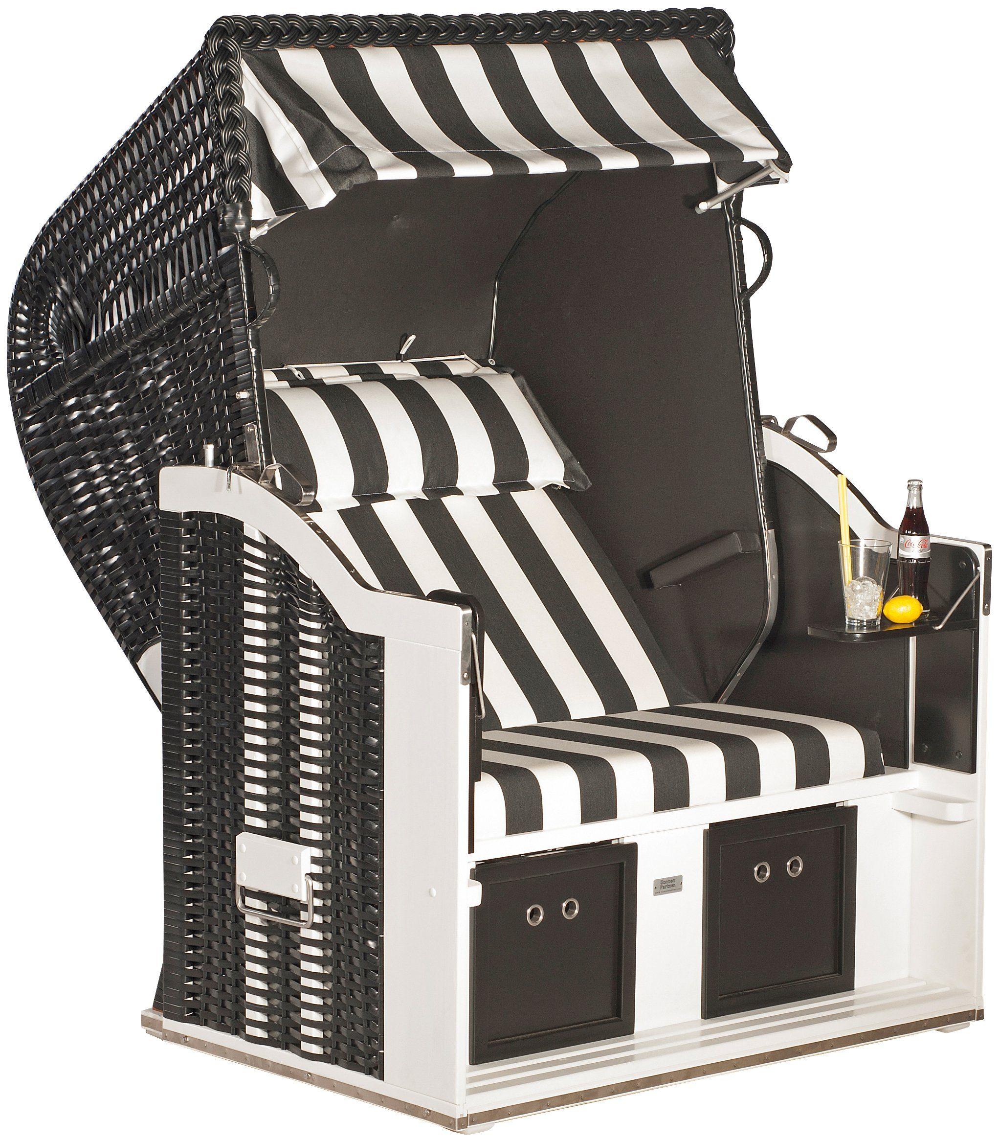 SONNEN PARTNER Strandkorb »Classic Special Edition black&white«, B/T/H: 130/90/160 cm, schwarz/weiß
