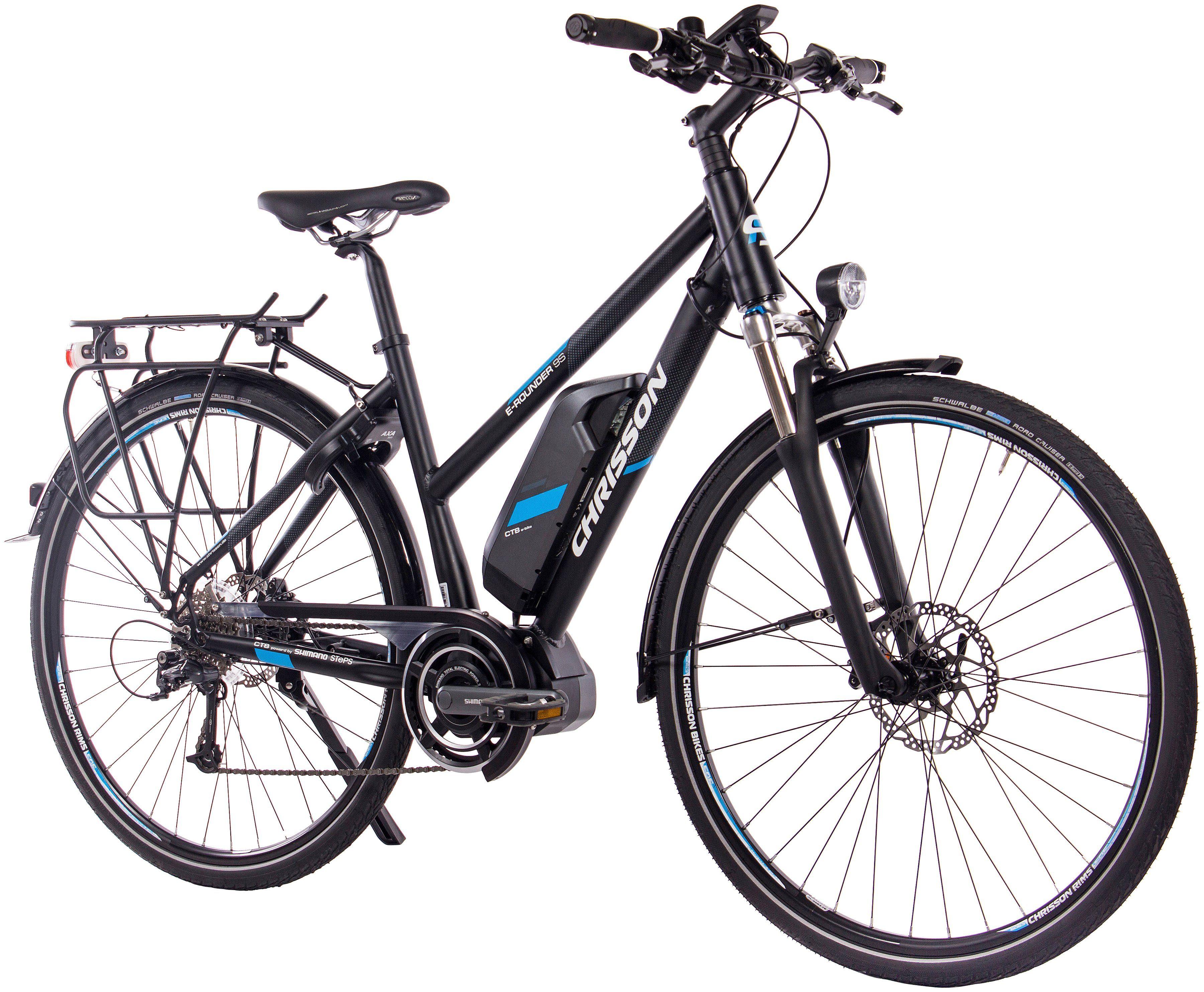 CHRISSON E-Bike Trekking Damen »E-ROUNDER «, 28 Zoll, 9 Gang, Mittelmotor, 418 Wh