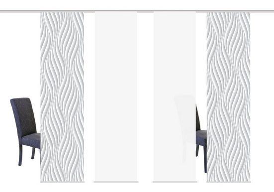 Schiebegardine »WAVES«, HOME WOHNIDEEN, Klettband (4 Stück), HxB: 245x60, inkl. Befestigungszubehör