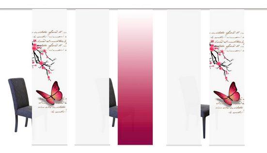 Schiebegardine »BUTTERFLIES«, HOME WOHNIDEEN, Klettband (5 Stück), HxB: 245x60, inkl. Befestigungszubehör