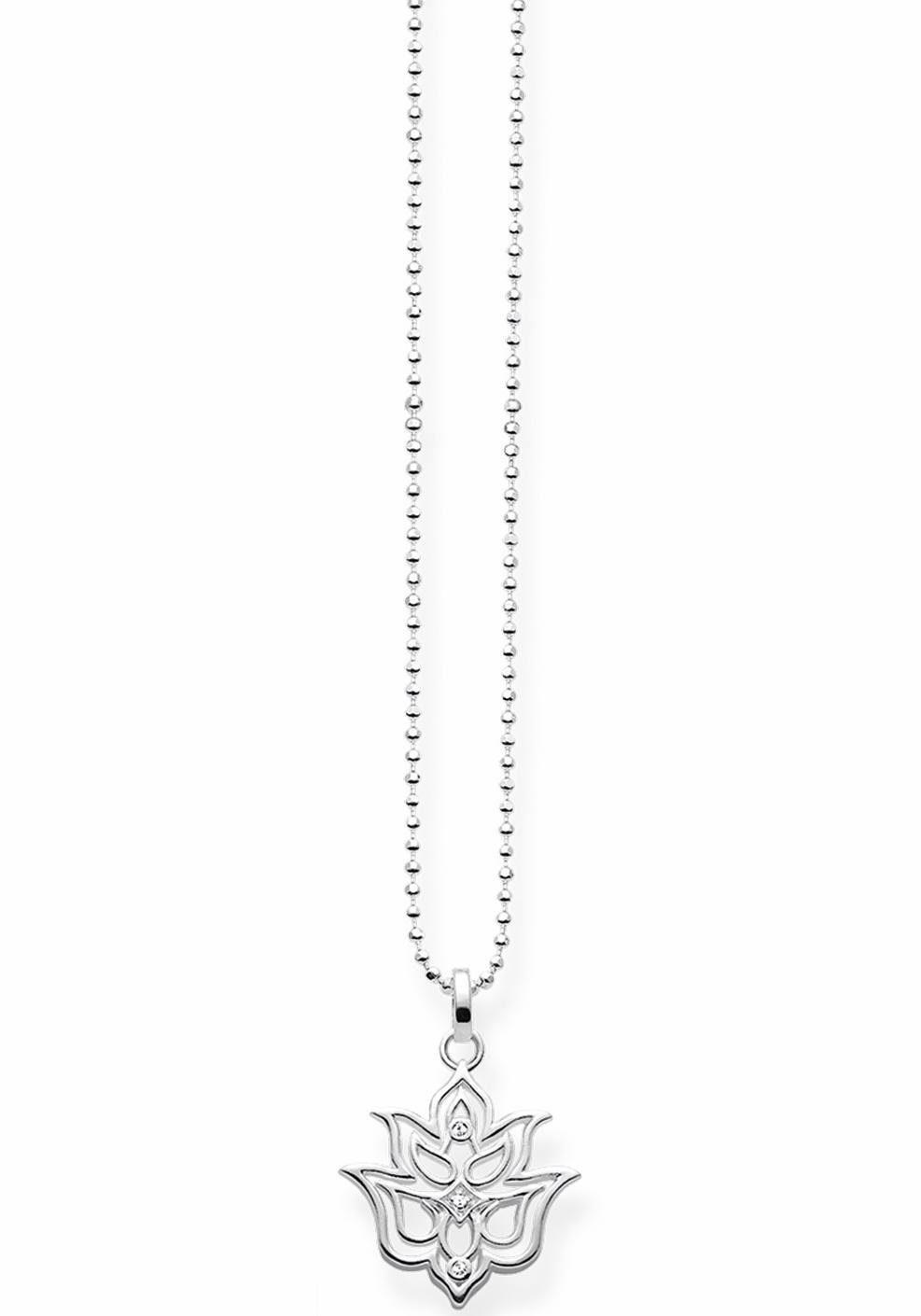 THOMAS SABO Kette mit Anhänger »Lotos Blüte Ornamentik, D_KE0016-725-21-L45v« mit Diamanten