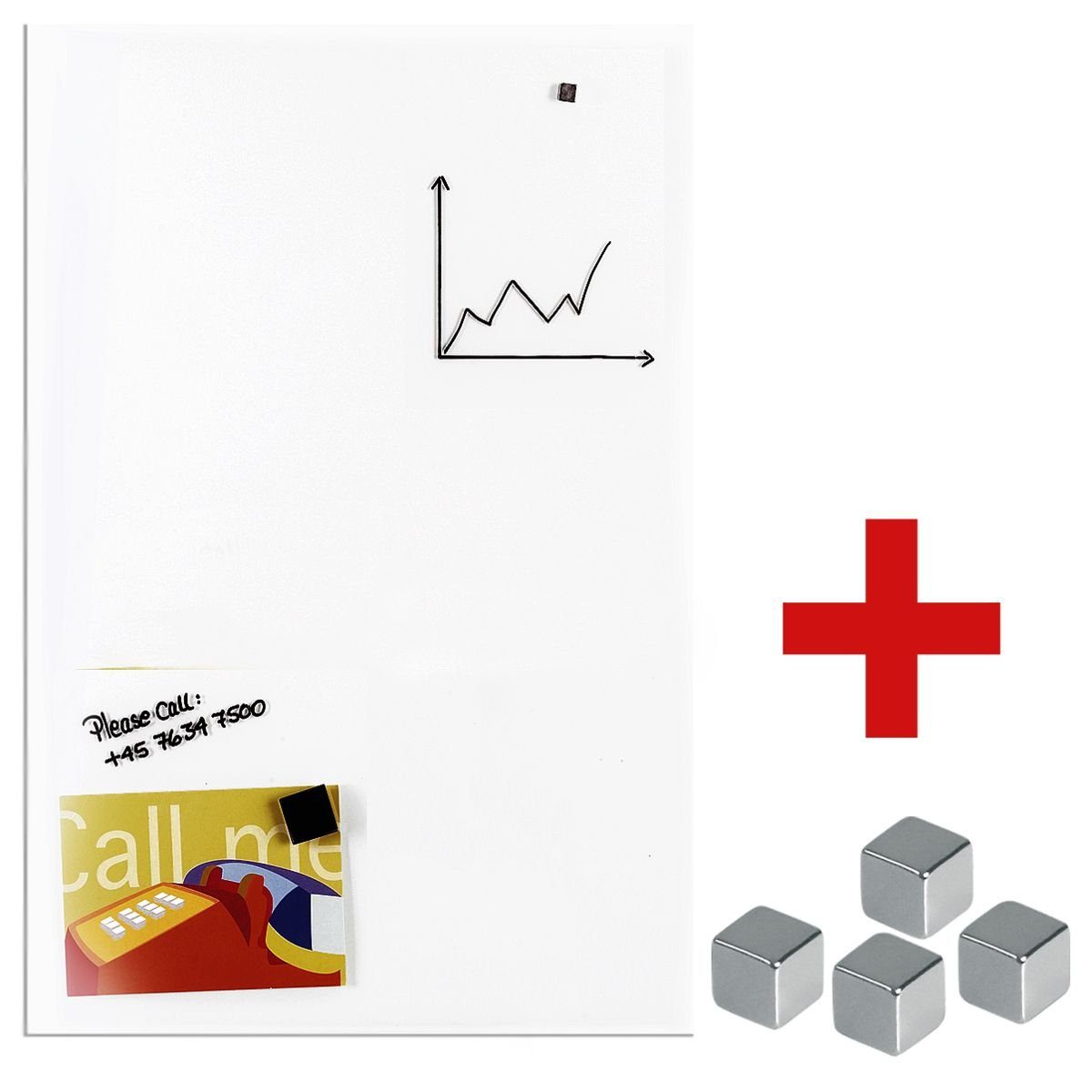 FRANKEN Glas-Magnettafel inkl. 4er-Pack Magnetwürfel »GT4060« 1 Set