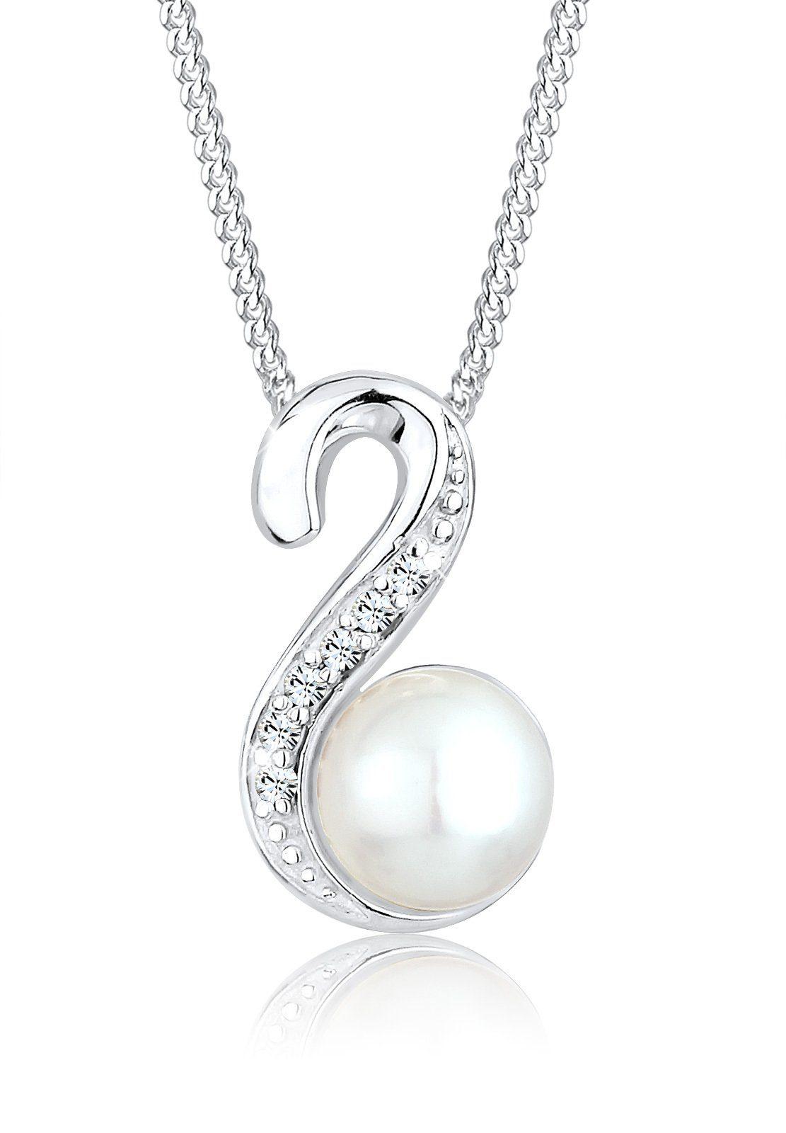 Perlu Halskette »Süßwasserperle Swarovski® Kristalle 925 Silber«