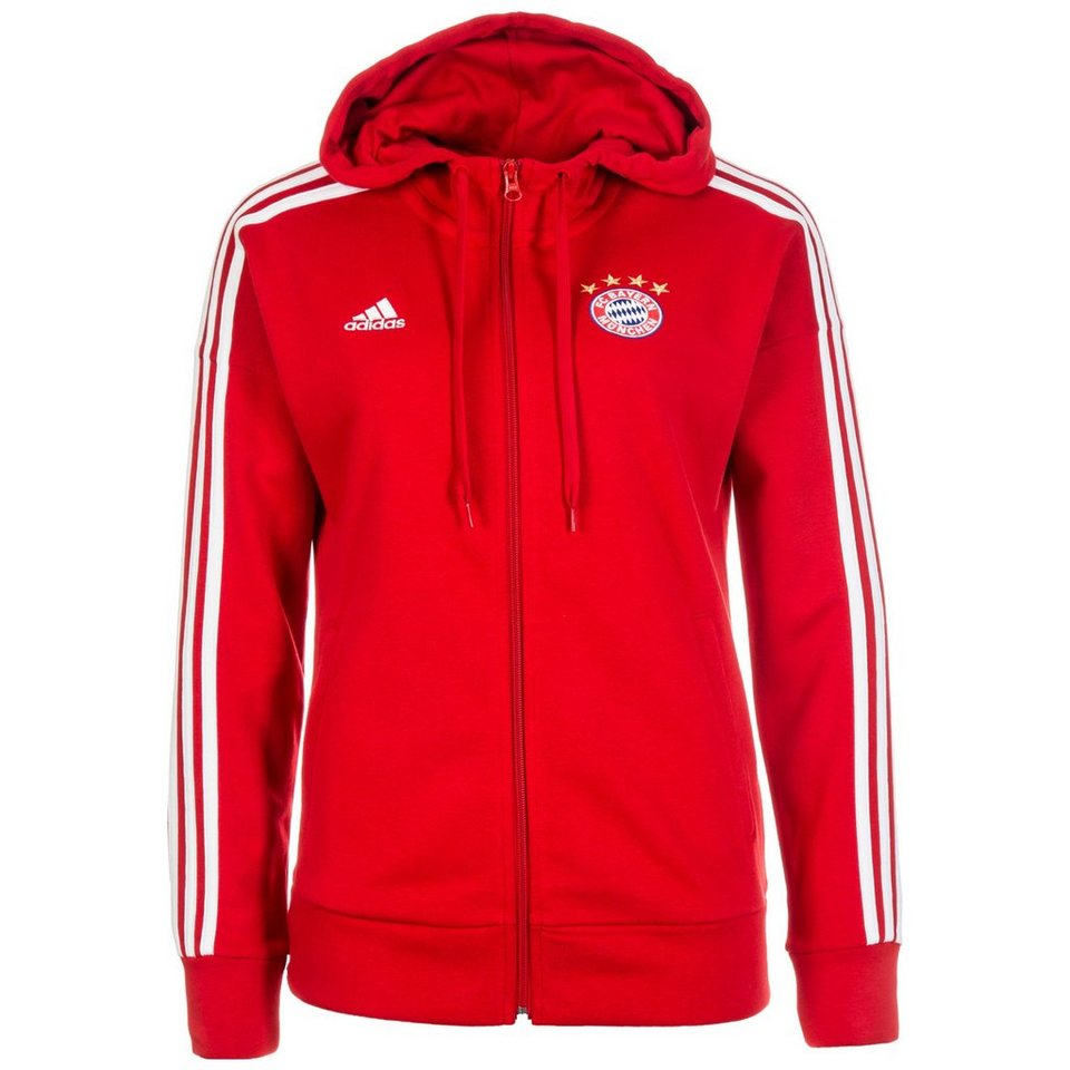 adidas performance kapuzensweatjacke adidas fc bayern m nchen 3 stripes kapuzenjacke damen. Black Bedroom Furniture Sets. Home Design Ideas
