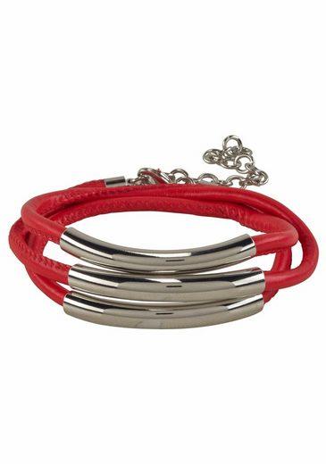 J.Jayz Wickelarmband »rot, mit Naht und 3 Metallelementen«