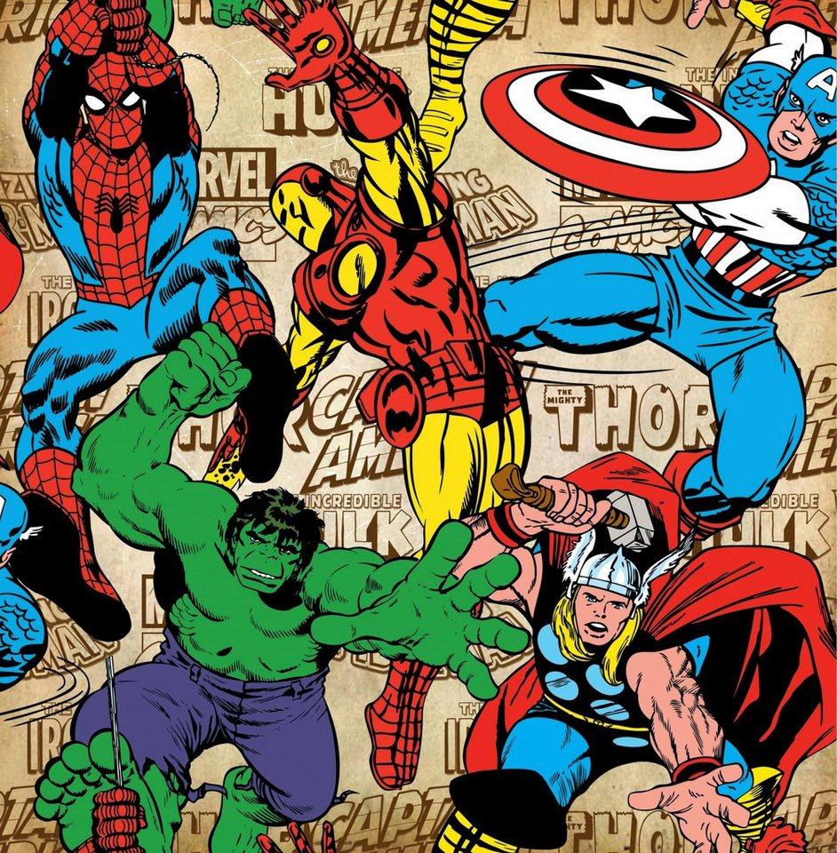 GRAHAM & BROWN Fototapete »Papiertapete Marvel Comics Superheroes ...