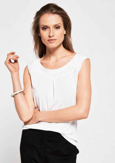 COMMA Jerseyshirt mit dekorativen Zierfalten Sale Angebote Terpe