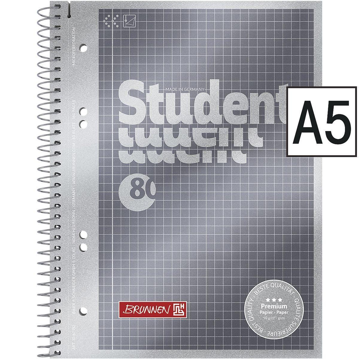 Brunnen Collegeblock A5 kariert »Student Premium«