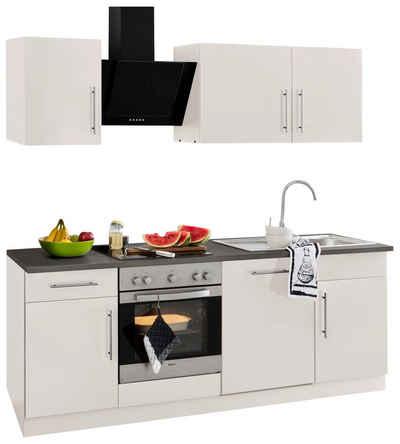 Küchenzeile cali mit e geräten breite 220 cm mit metallgriffen wiho küchen