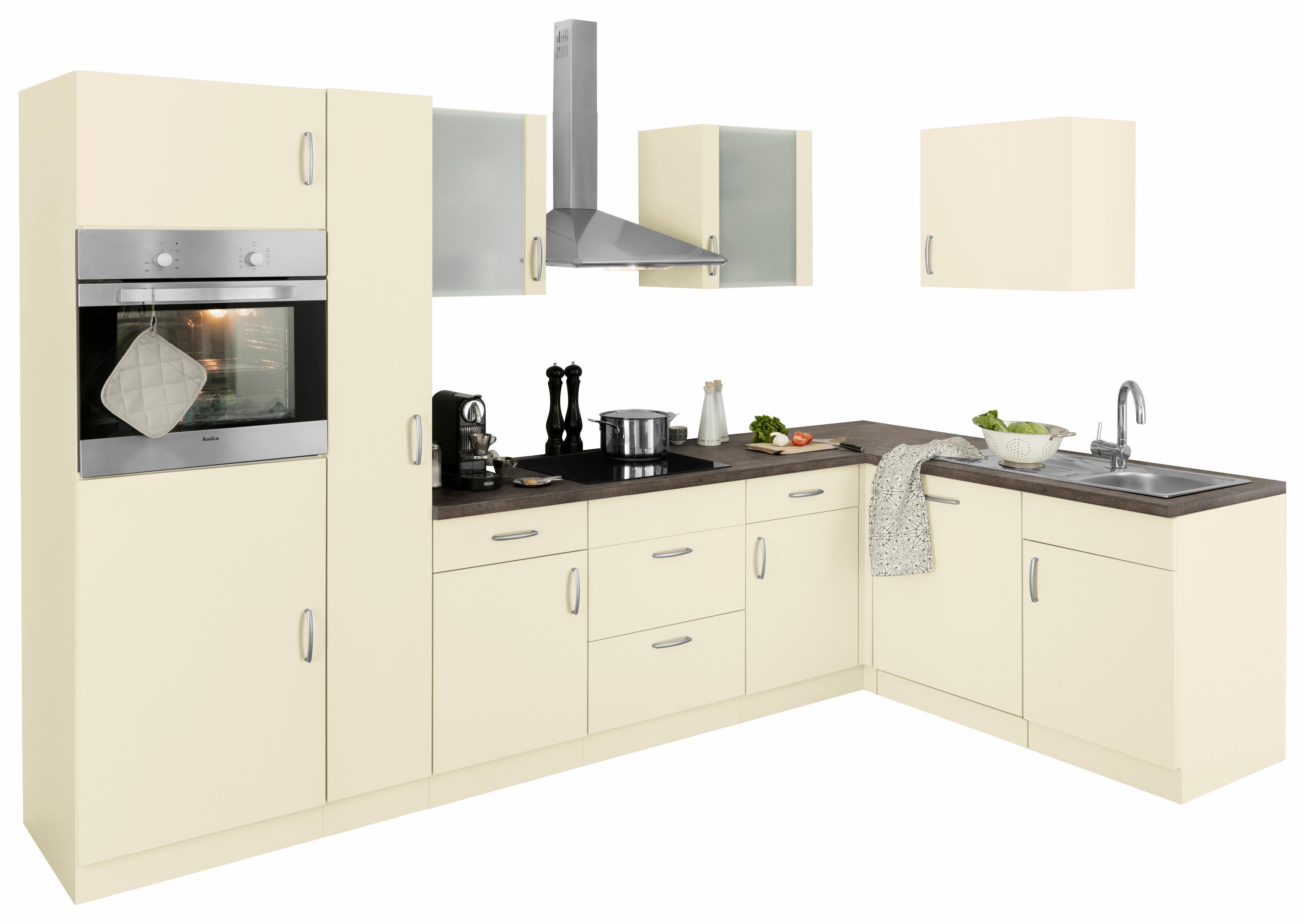 Winkelküche ´´Brüssel´´ mit E-Geräten, Stellbreite 310 x 170 cm | Küche und Esszimmer > Küchen > Winkelküchen | Weiß | Beton - Edelstahl | wiho Küchen