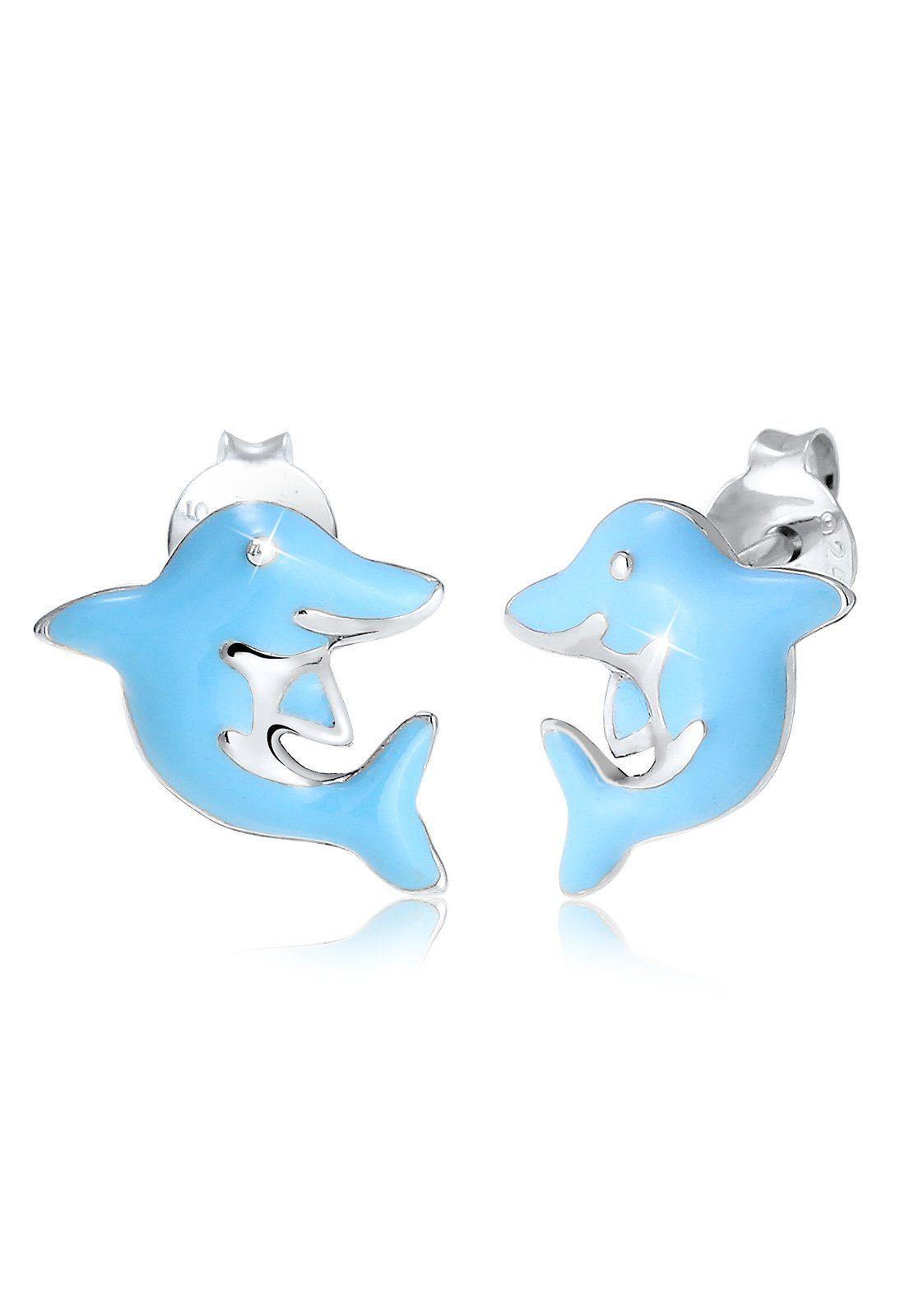 Elli Ohrringe »Kinder Delfin Tier Urlaub Emaille 925 Silber«