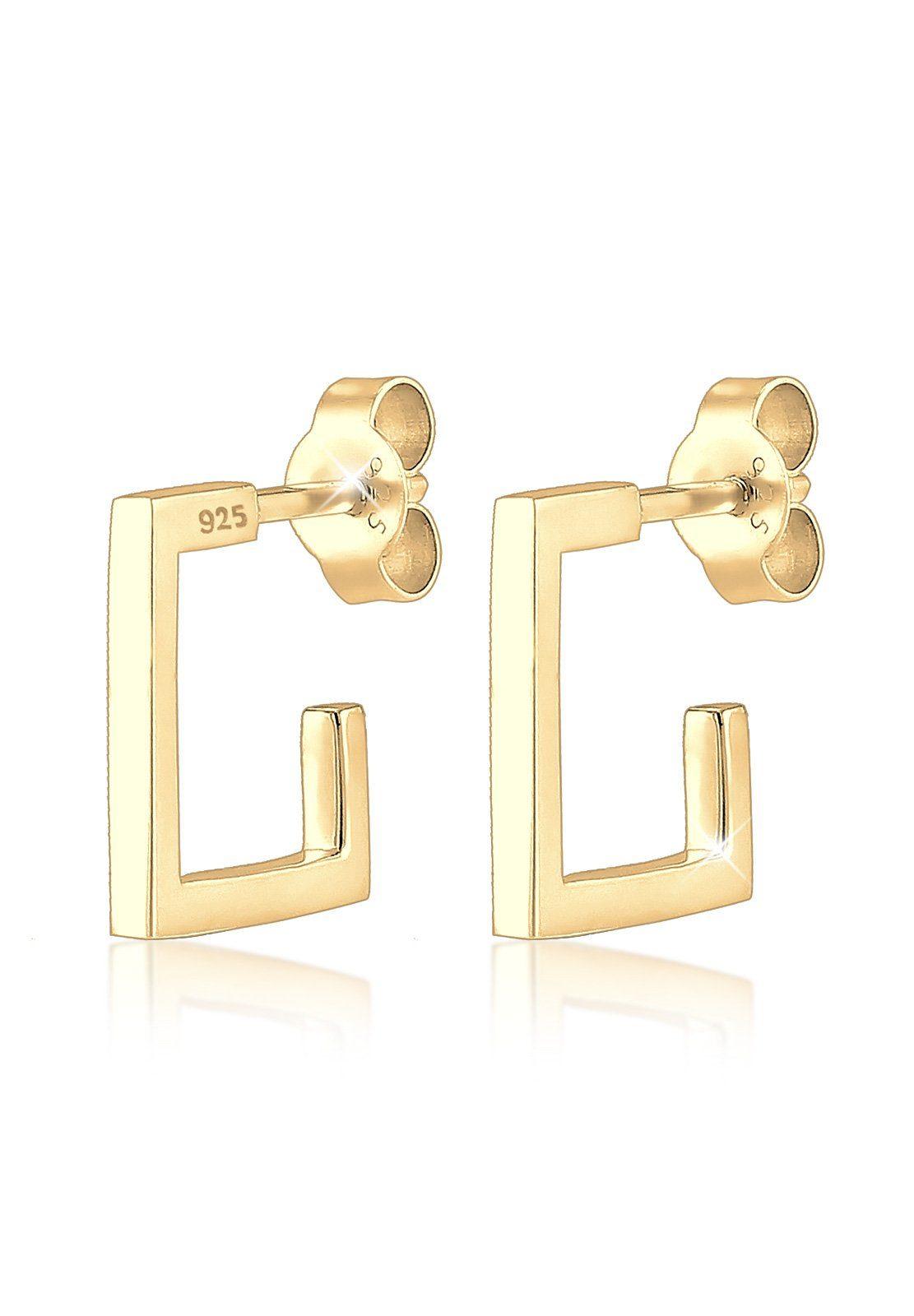 Elli Ohrringe »Geo Viereck Creole Minimal 925 Silber vergoldet«