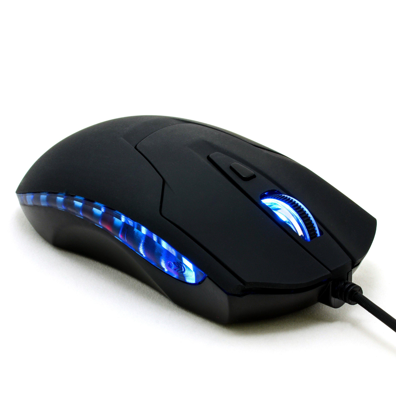 CSL USB Gaming Maus mit 2400dpi und blauen LEDs »6 Tasten / ergonomisches Design«
