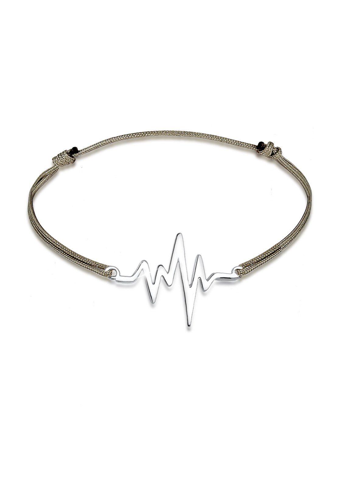 Elli Armband »Herzschlag Textil Trend Geo 925 Sterling Silber«