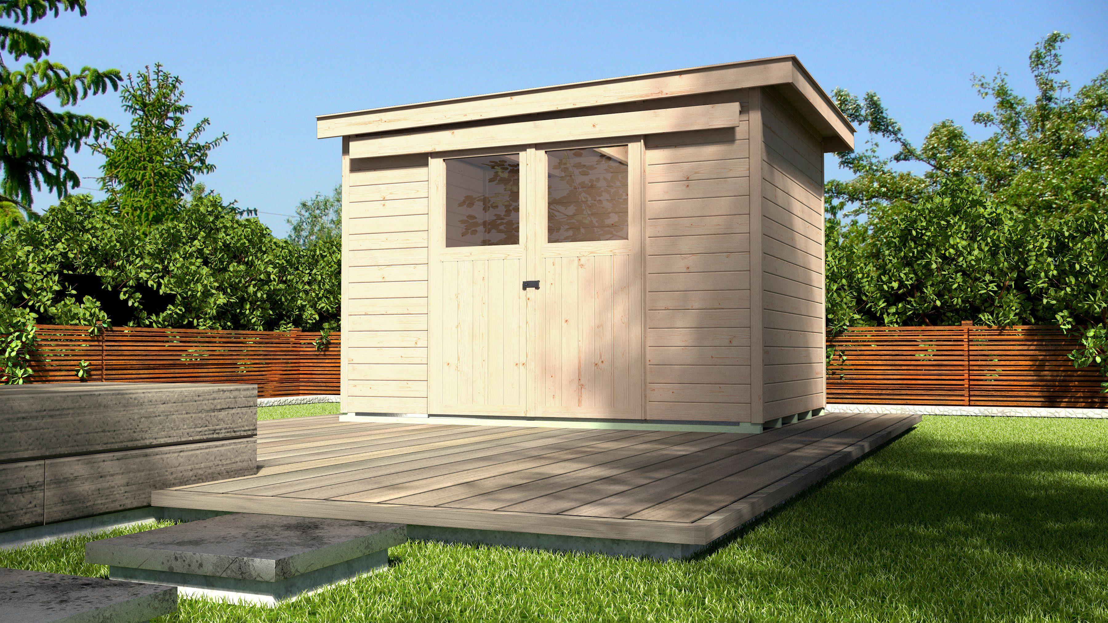 Gartenhaus Fußboden Schrauben ~ Pultdachhaus cm mm mit fußboden und schiebetür u ac