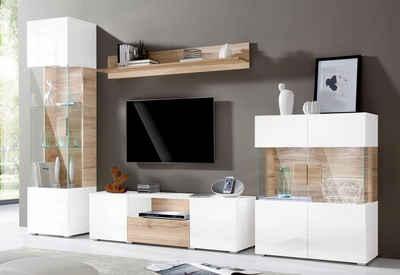 Wohnwand weiß hochglanz mit holz  Wohnwand in weiß » Hochglanz & Matt kaufen | OTTO
