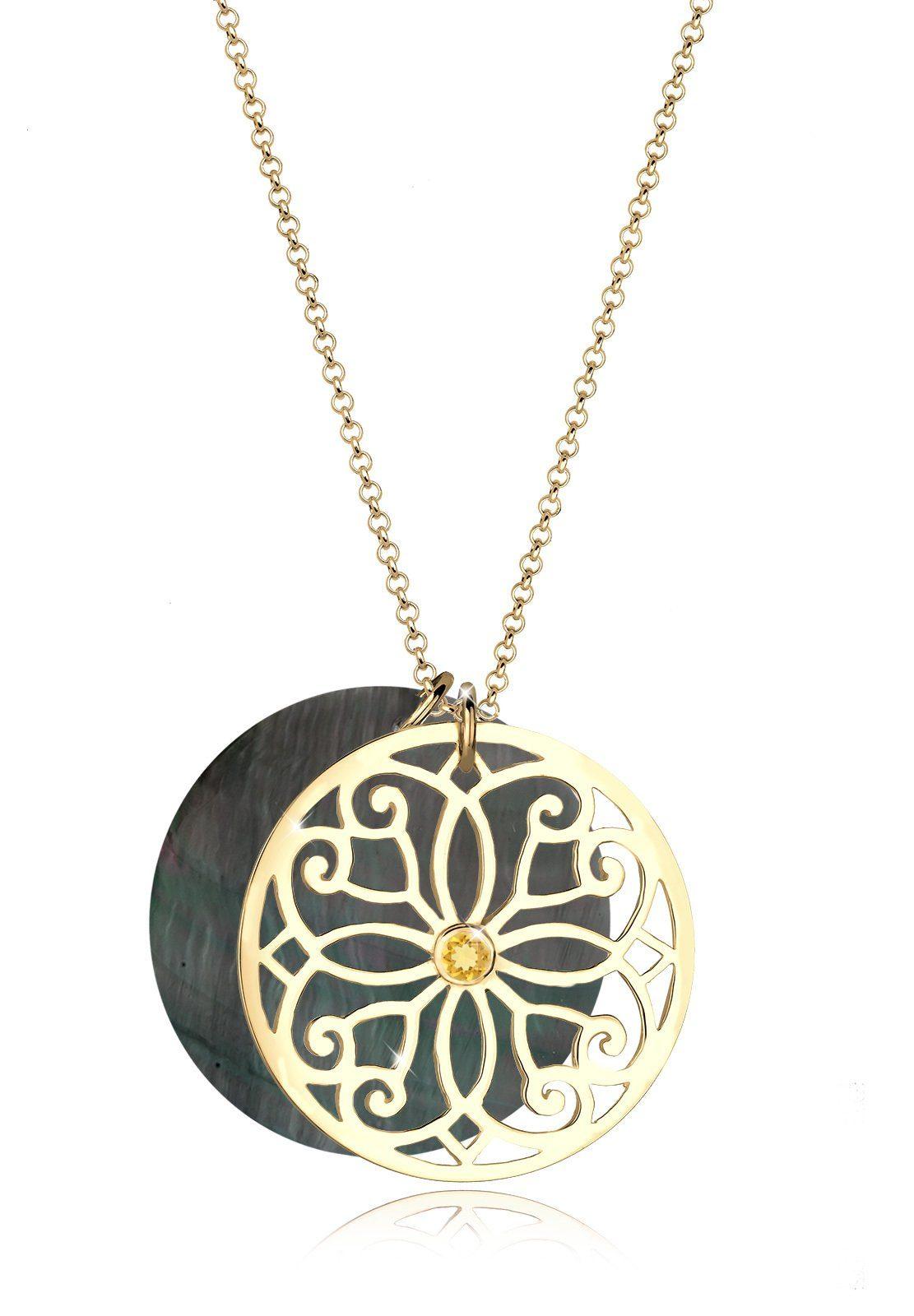Elli Halskette »Ornament Perlmutt Citrin 925 Sterling Silber«