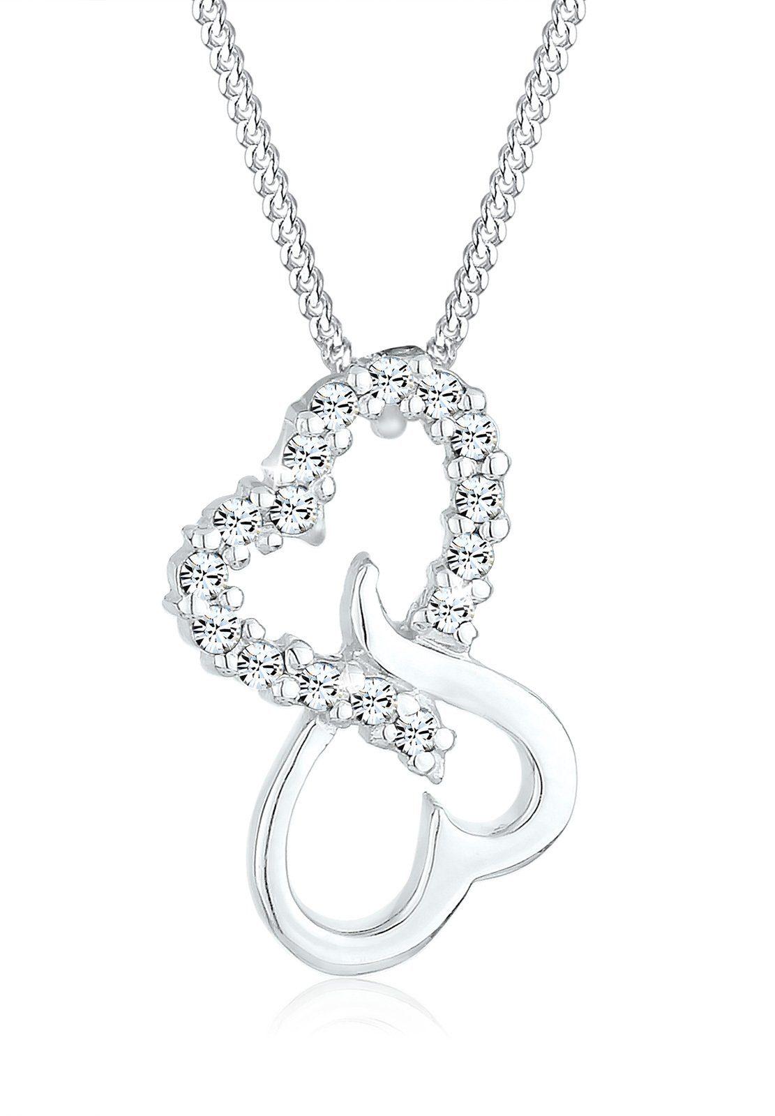 Elli Halskette »Herzen Swarovski® Kristalle 925 Sterling Silber«