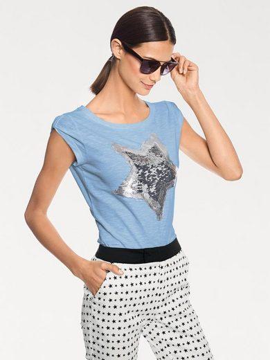 heine STYLE Rundhalsshirt mit Paillettenstern
