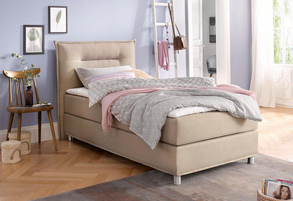 maintal boxspringbett inkl topper kopfteil mit abgesteppter biese online kaufen otto. Black Bedroom Furniture Sets. Home Design Ideas