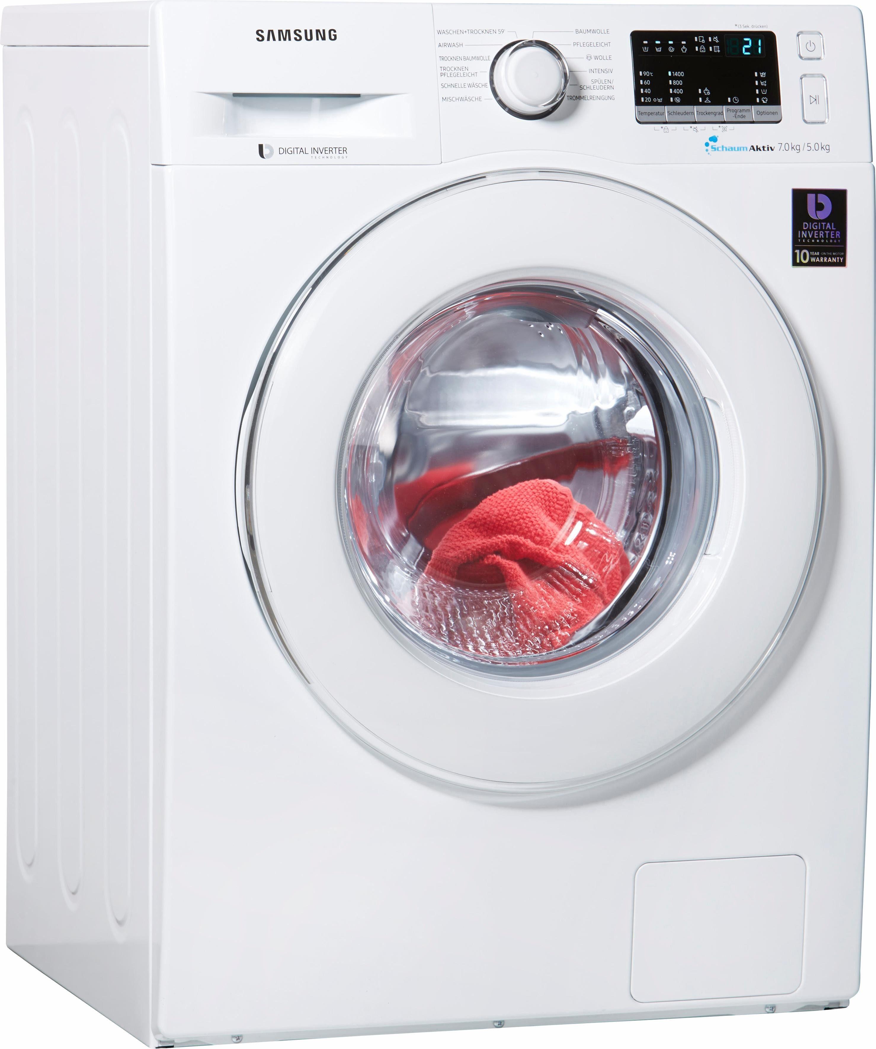 Samsung Waschtrockner WD 4000 WD70M4433IW/EG, 7 kg / 5 kg, 1400 U/Min, mit SchaumAktiv