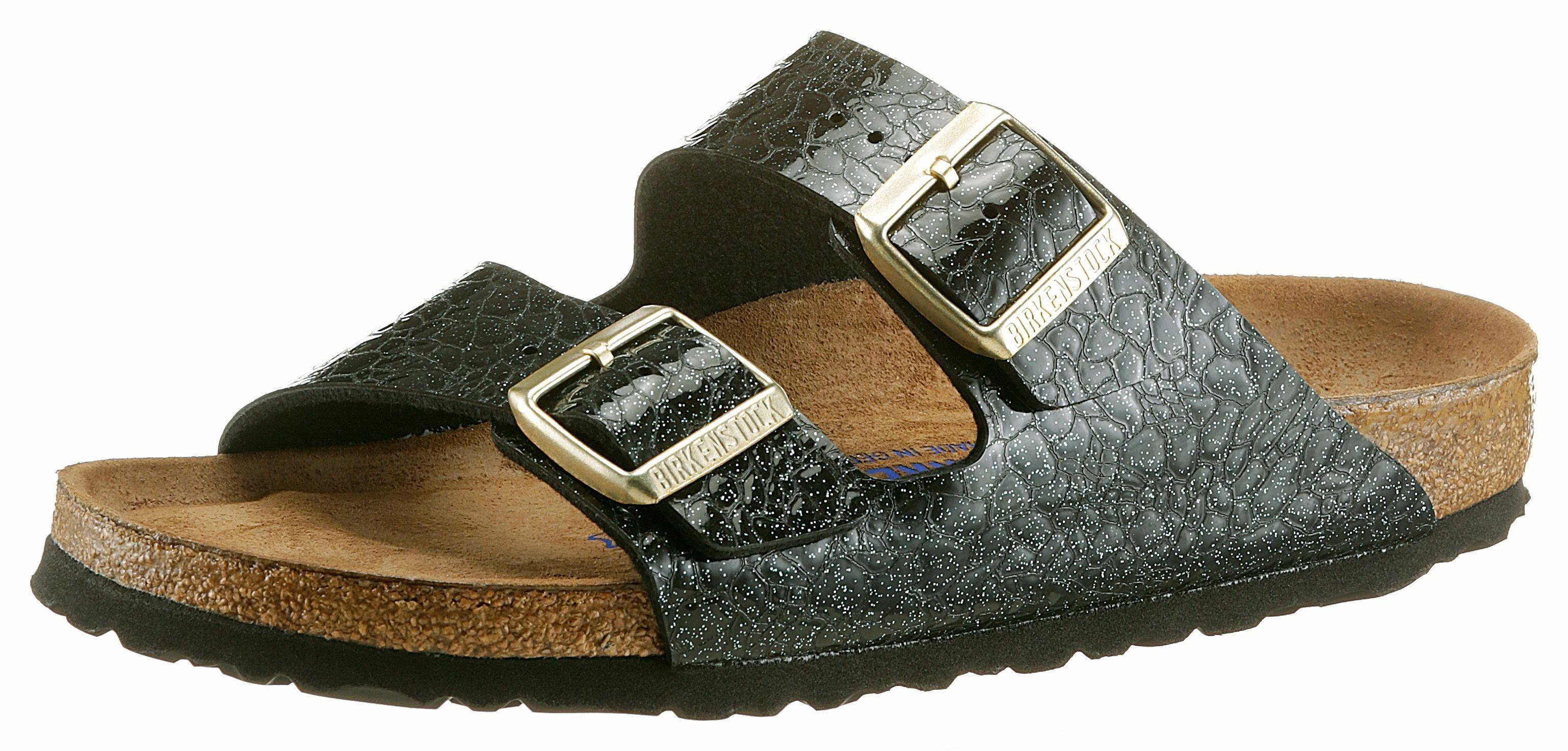 Birkenstock ARIZONA SFB Pantolette, mit Reptil-Prägung und schmaler Schuhweite online kaufen  schwarz-mint