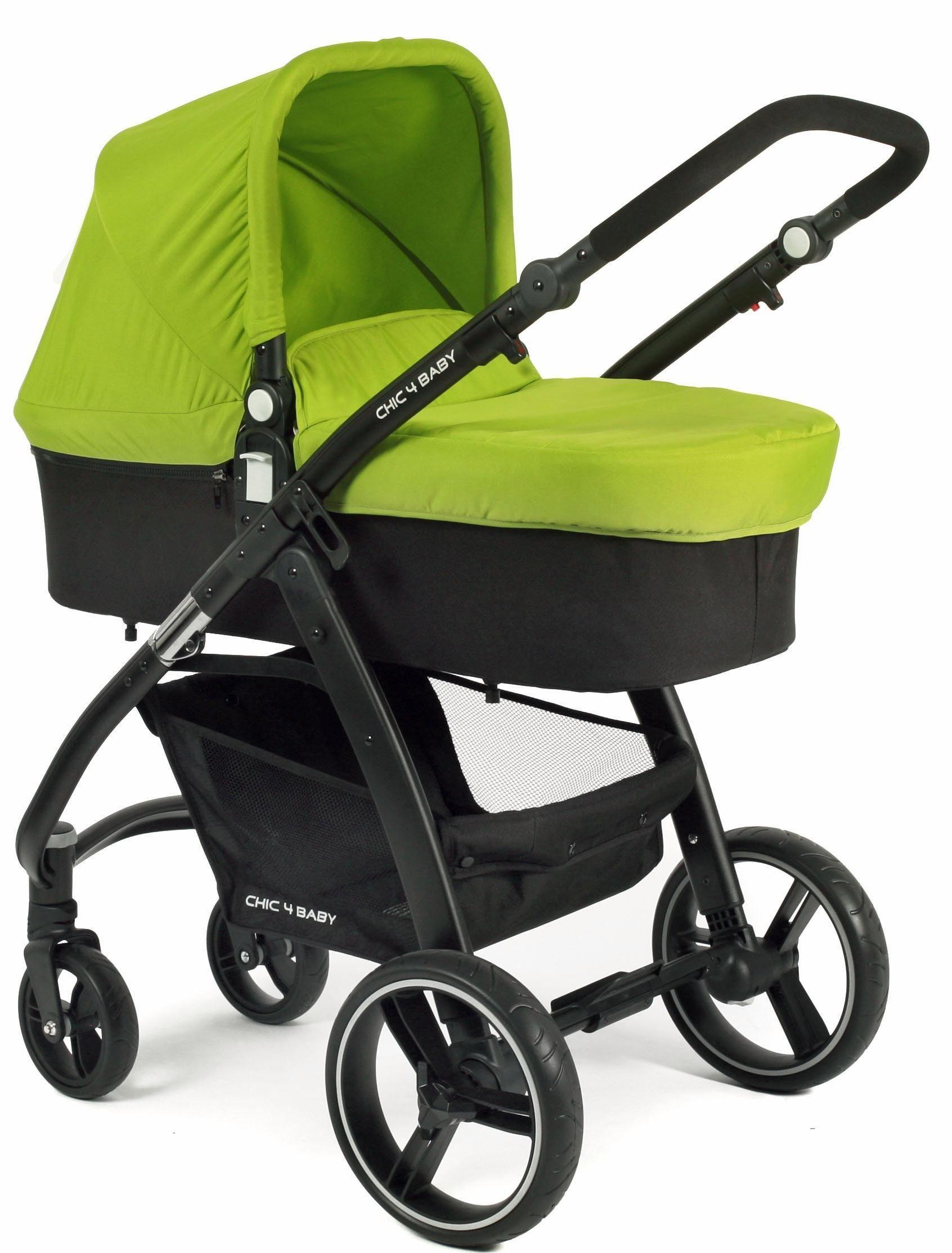 CHIC4BABY Kombi Kinderwagen inklusive Sportsitz, »Volare, grün-schwarz«