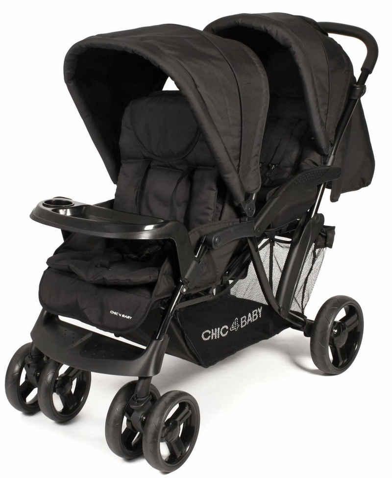 CHIC4BABY Geschwisterwagen »Doppio, schwarz«, mit Regenschutz; Kinderwagen