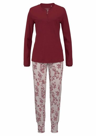 CALIDA Pyjama Natalie Kariert mit Blütenprint
