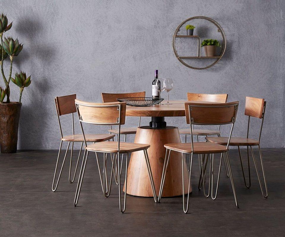 delife esstisch romiro akazie natur 120x120 rund massiv. Black Bedroom Furniture Sets. Home Design Ideas