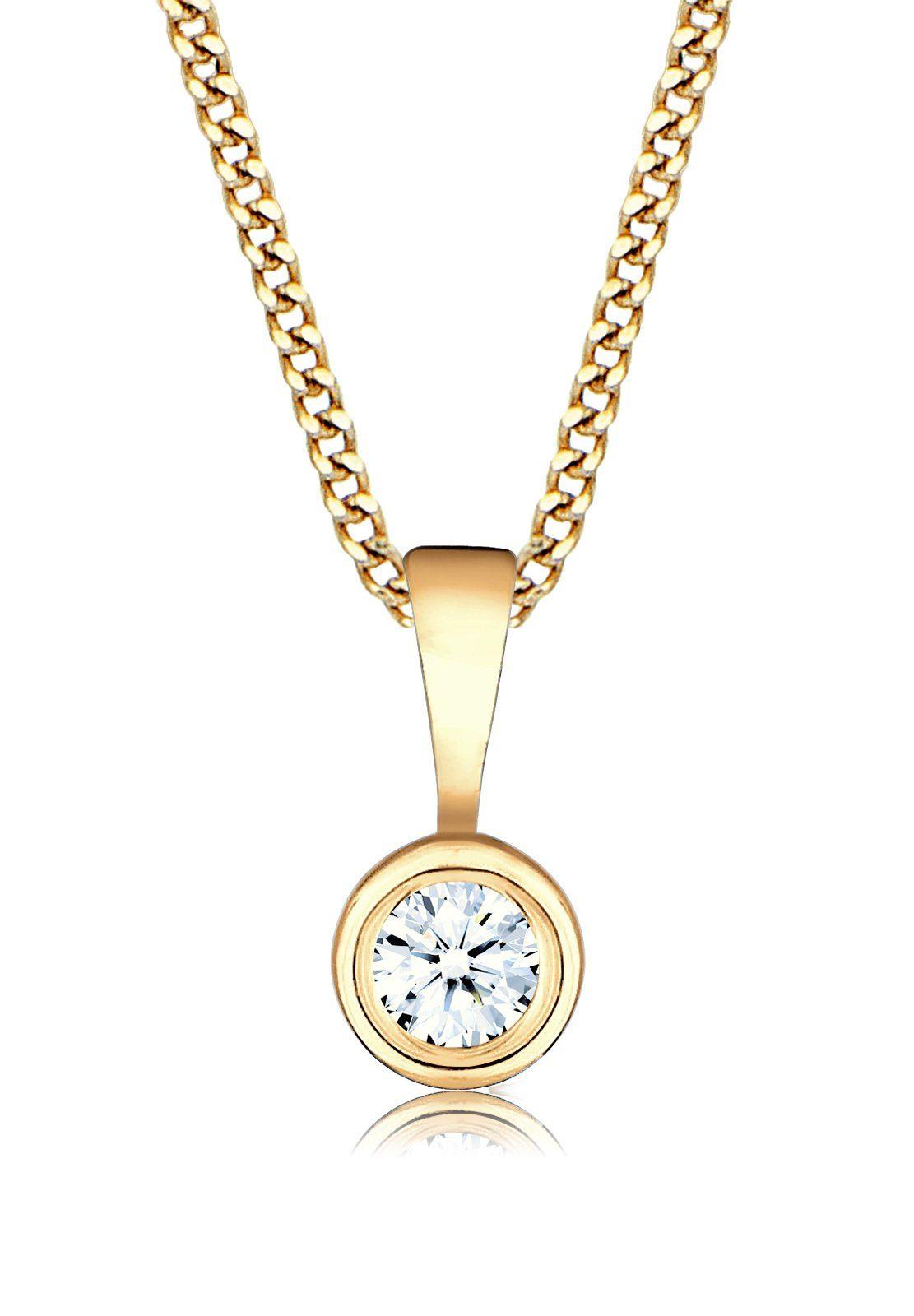 Diamore Halskette »Diamant Solitär Rund 585 Gelbgold«