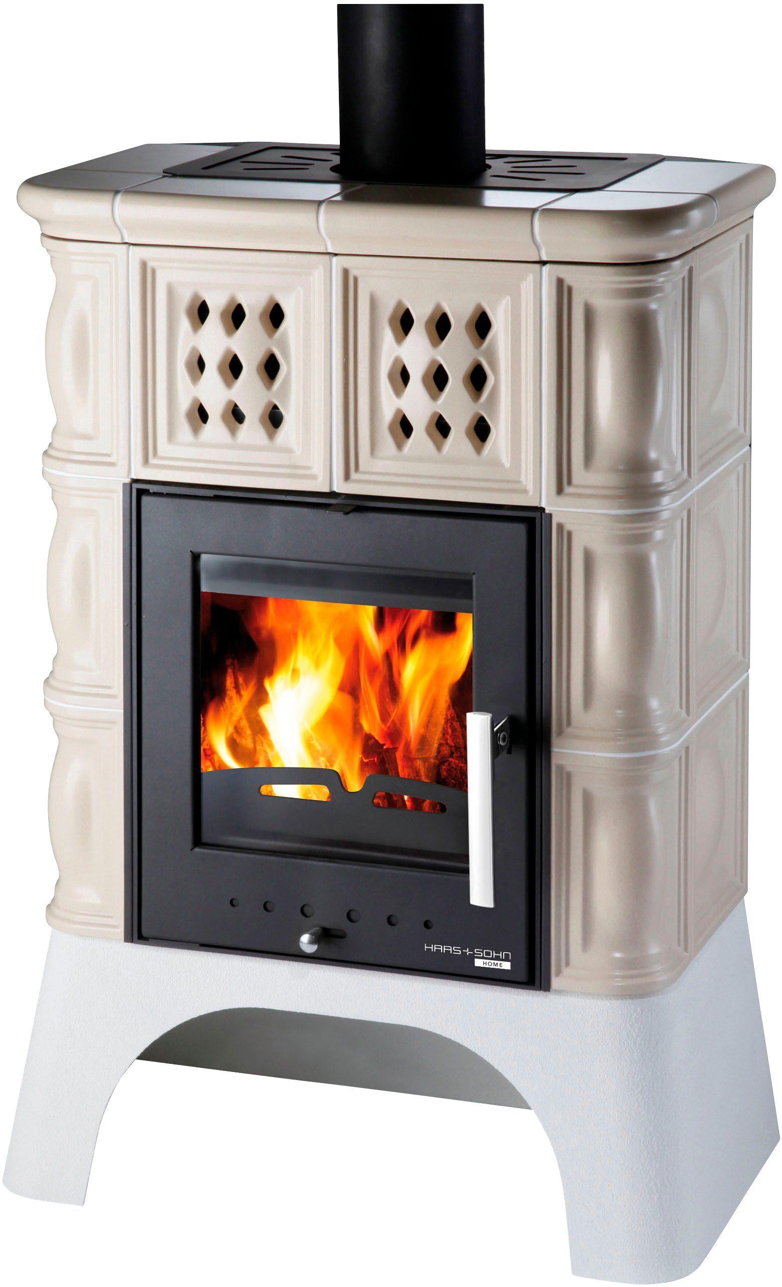 HAAS+SOHN Kaminofen »TREVISO II 339.15 perl-schwarz/creme«, Stahl, 8 kW, weißer Sockel