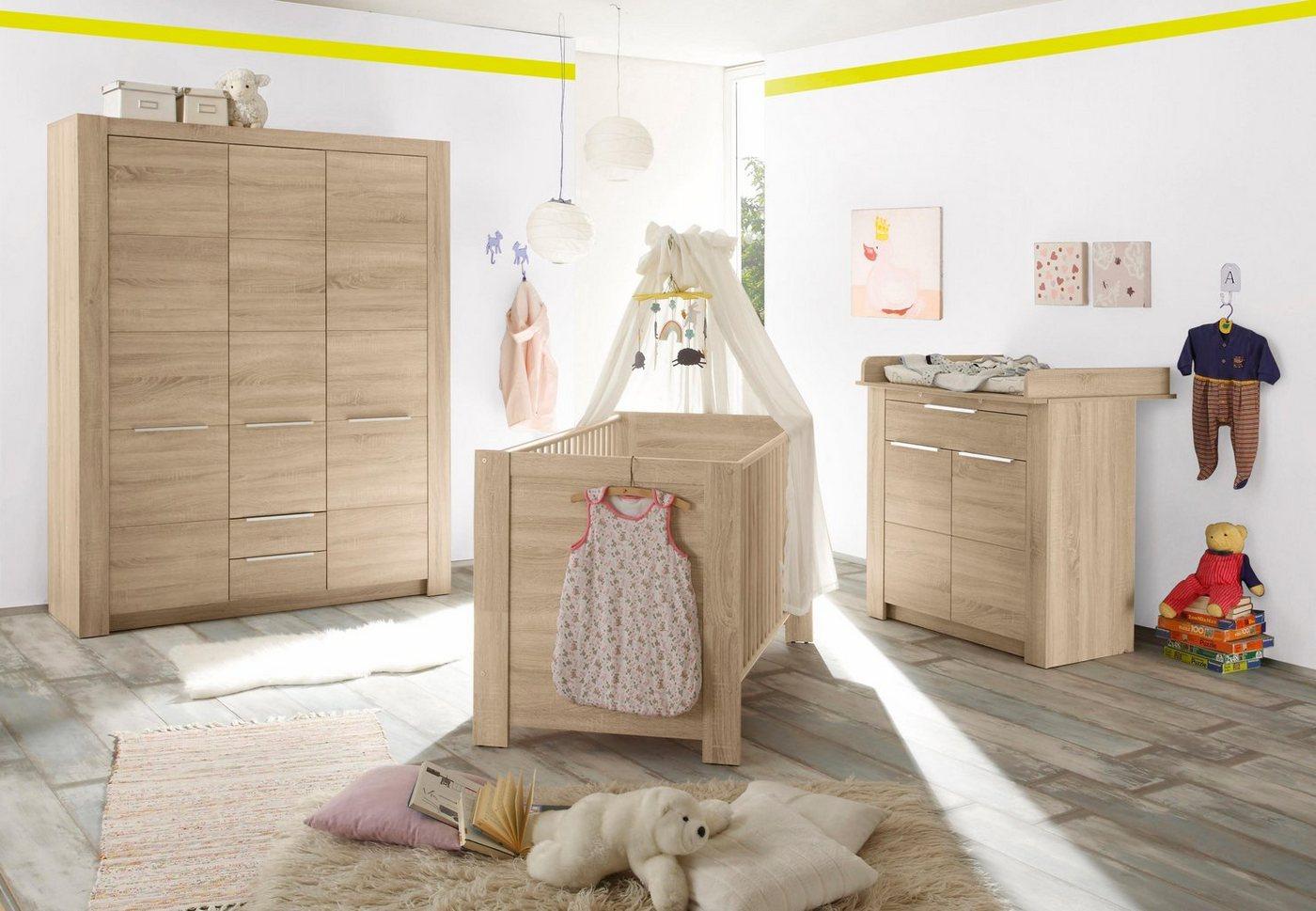 Komplett Babyzimmer Hamburg Babybett + Wickelkommode + breiter Kleiderschrank (3-tlg.) in eiche NB braun   04251014145003