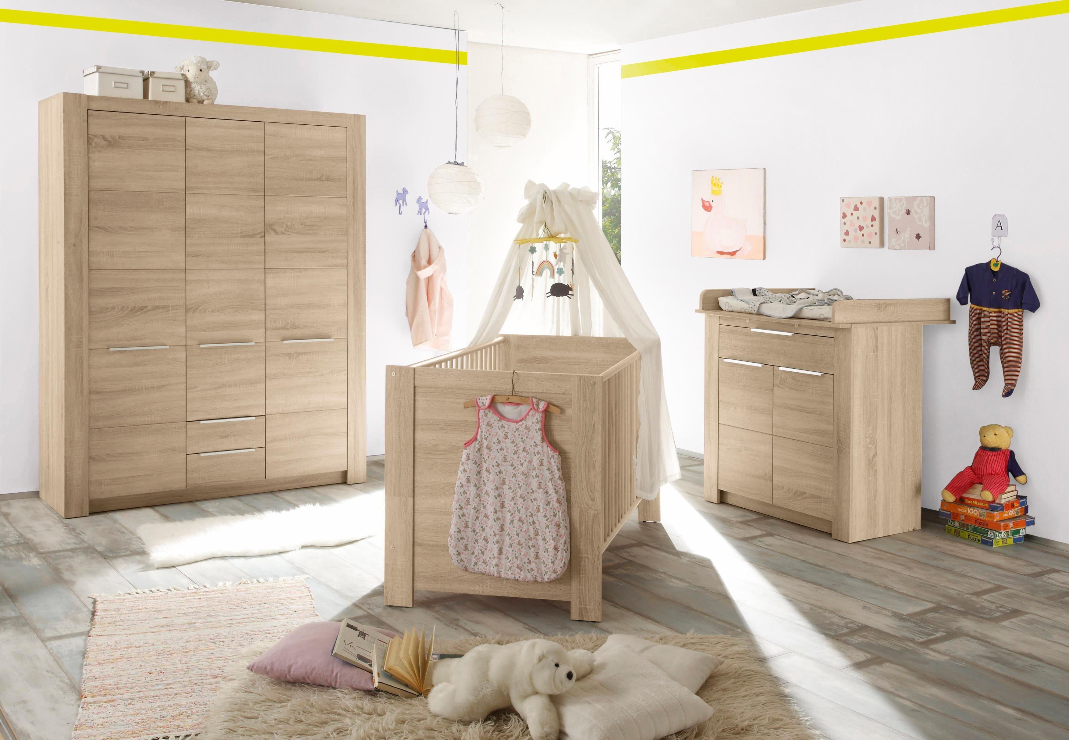 Komplett Babyzimmer »Hamburg« Babybett + Wickelkommode + breiter Kleiderschrank, (3-tlg.) in eiche NB