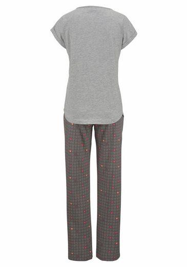 Vivance Dreams Pyjama mit Longpants im Allover Herzprint