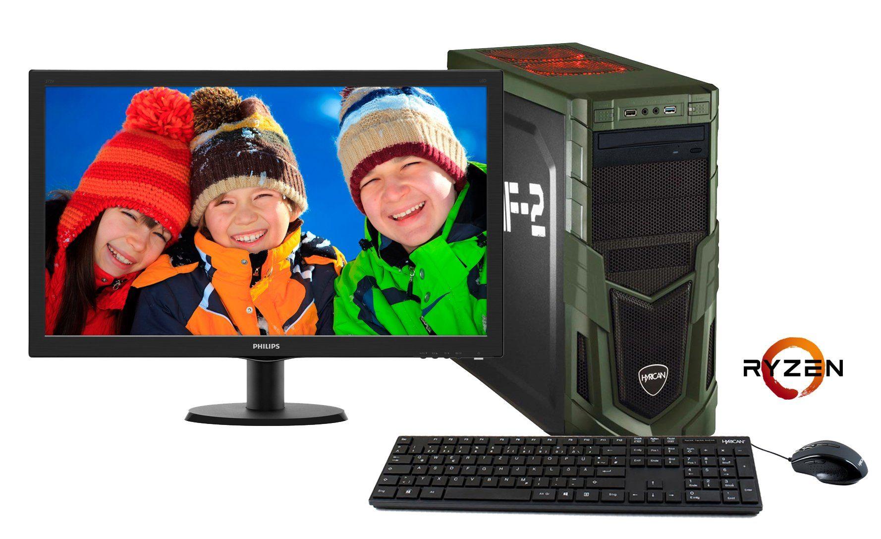 HYRICAN Gaming PC AMD Ryzen™ 7 1700 16GB GeForce® GTX 1060 + Monitor »MilitaryGaming SET1241«