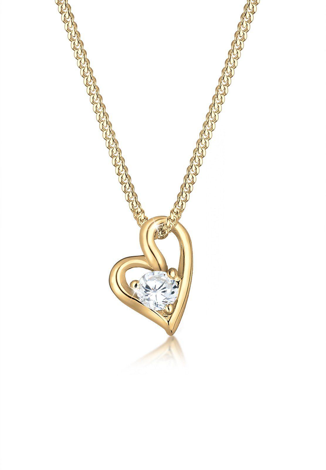 Elli Halskette »Herz Zirkonia 585 Gelbgold«