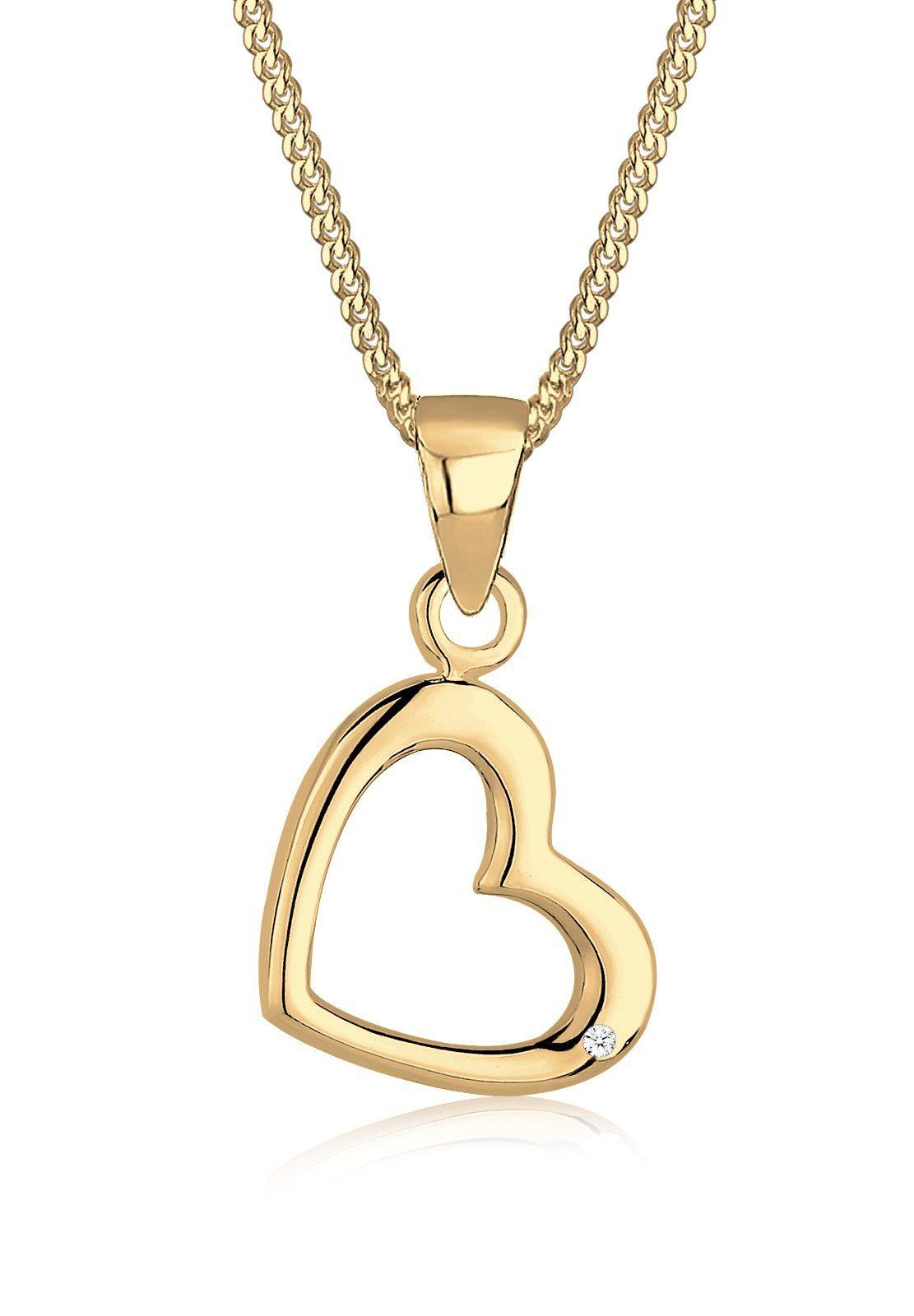Diamore Halskette »Herz Liebe Diamant 585 Gelbgold«