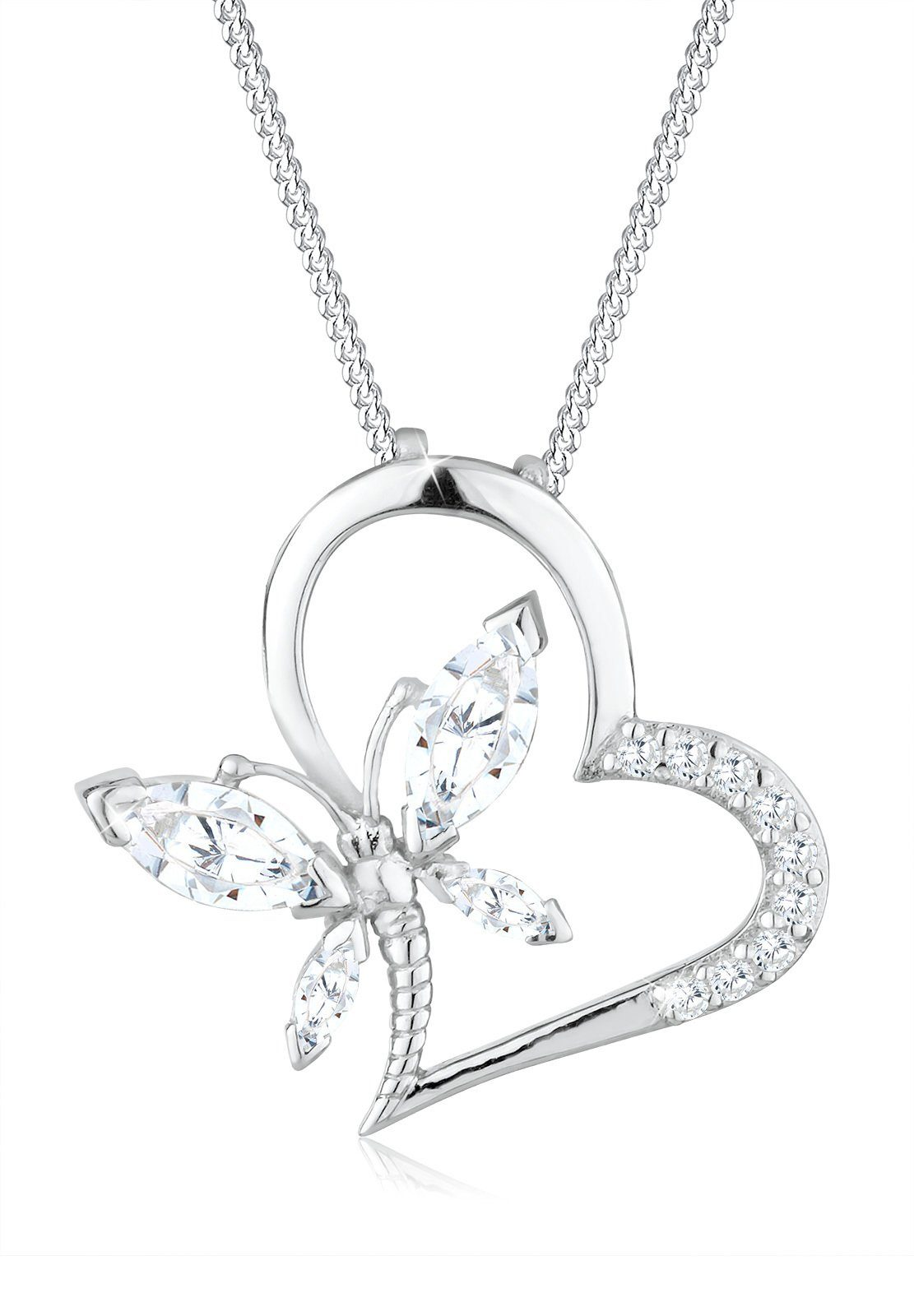 Elli Halskette »Herz Schmetterling Zirkonia 925 Sterling Silber«
