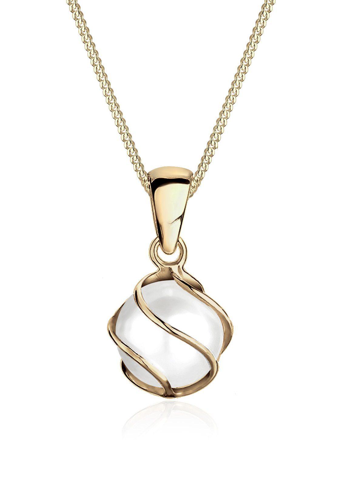 Elli Halskette »Spirale 375 Gelbgold Süßwasserzuchtperle«