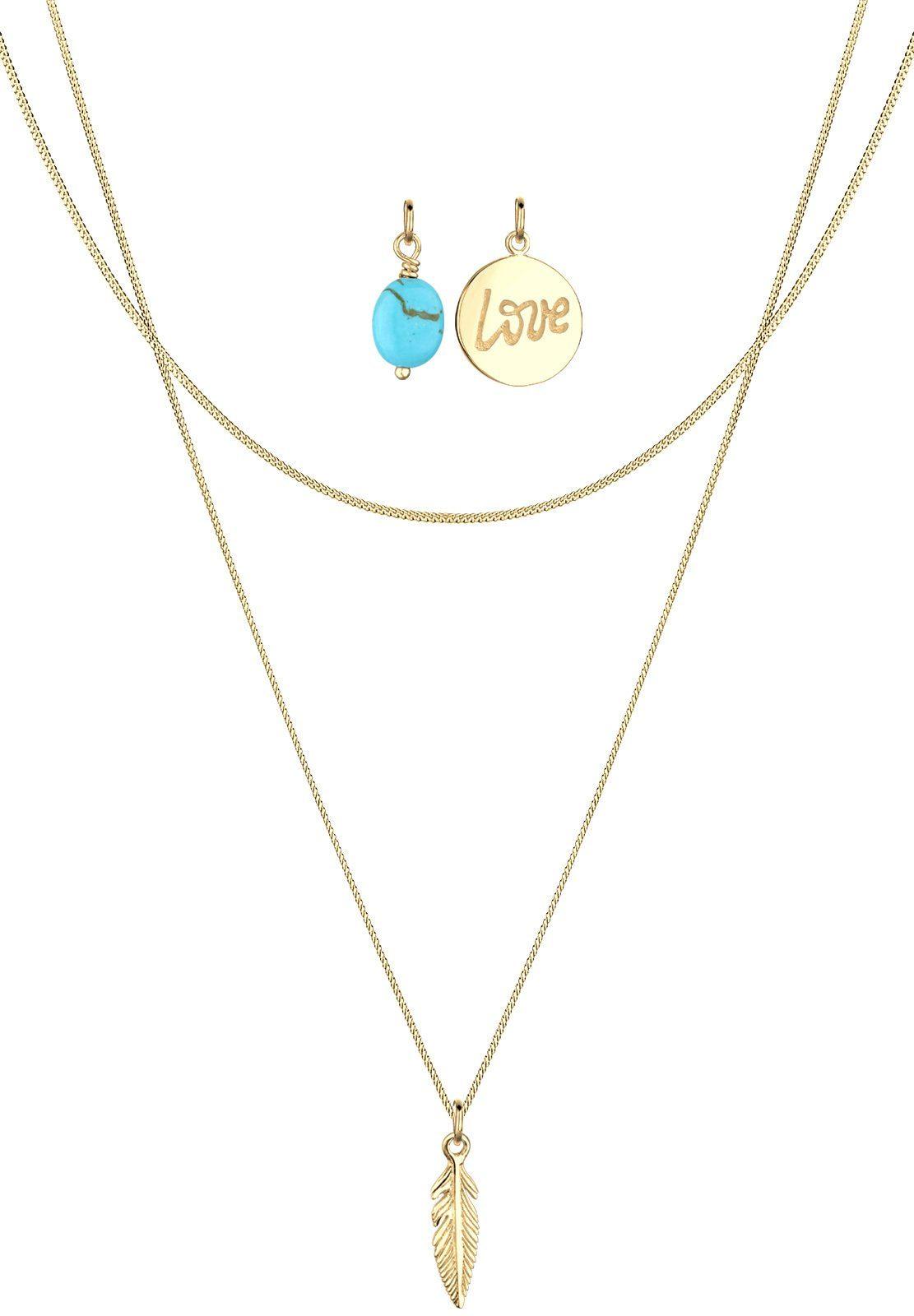 Elli Set: Halskette »Feder Love Howlit 925 Sterling Silber vergoldet« 3 tlg.