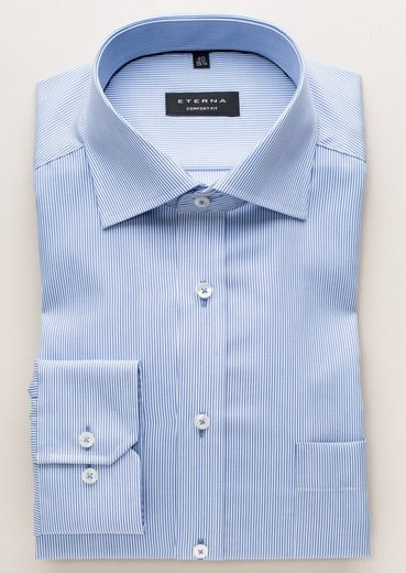 Eterna Long Sleeve Shirt Striped Comfort Fit Cotele