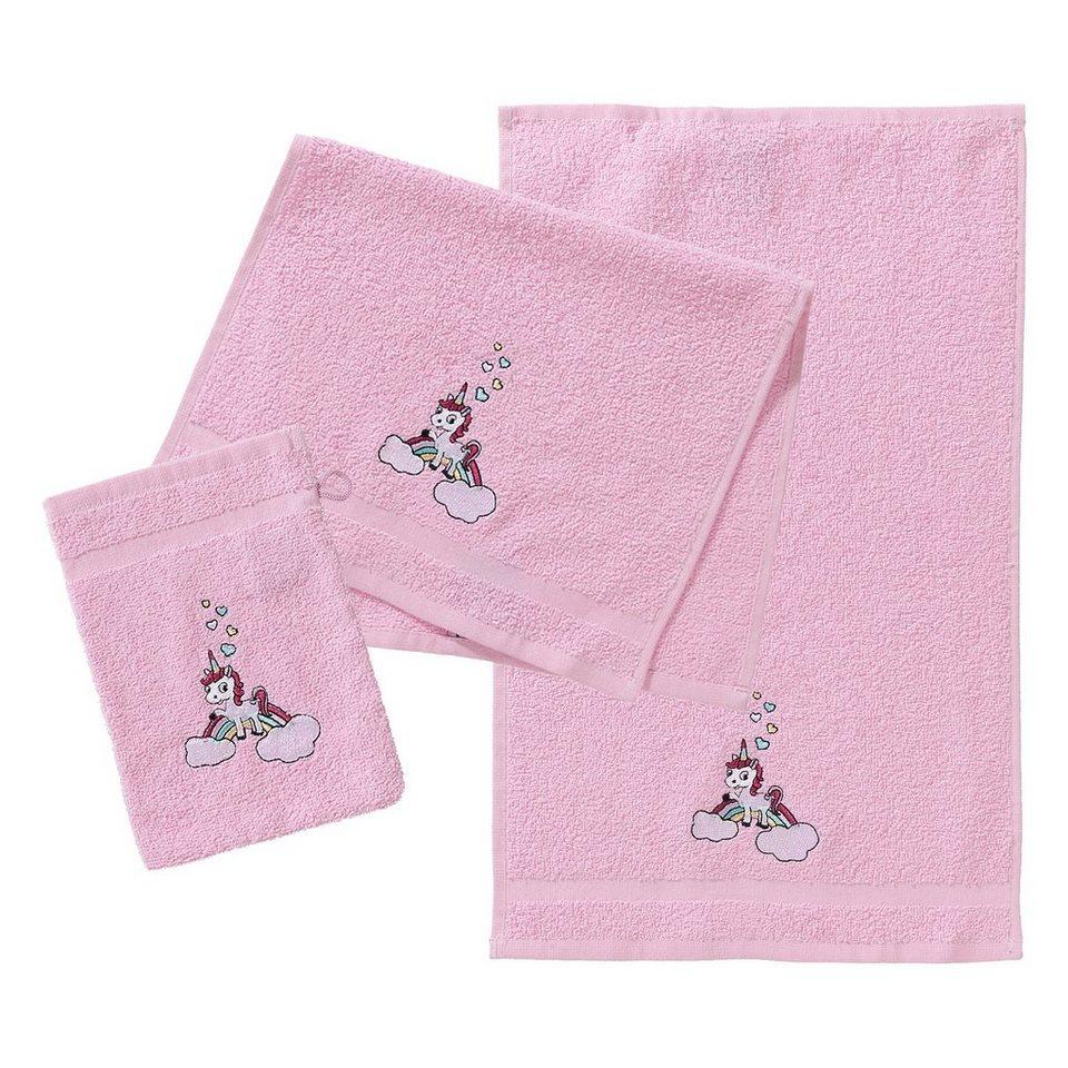 Mytoys Frottierset 2 Handtücher 1 Waschlappen Einhorn Rosa