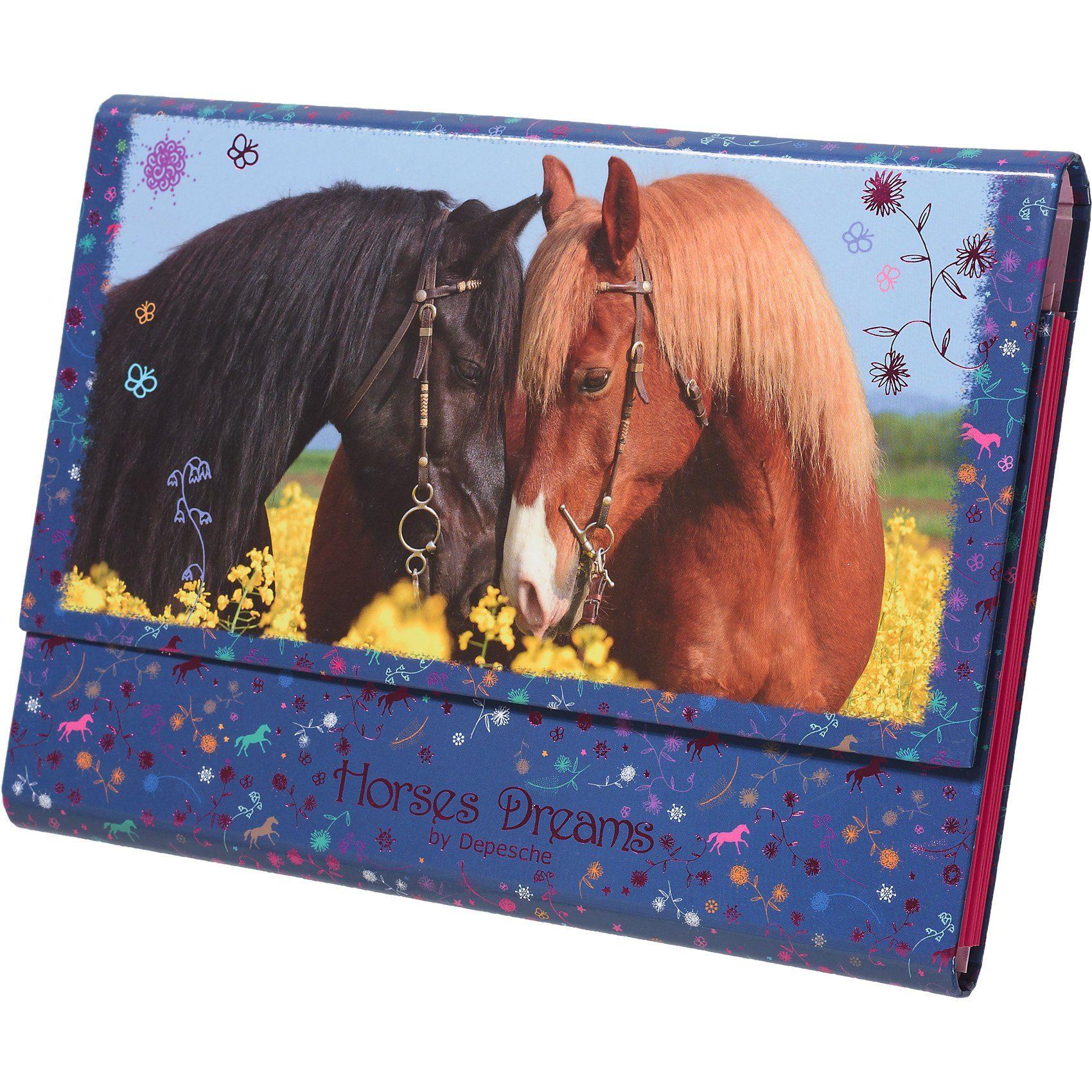 Depesche Briefpapier Horses Dreams in Fächermappe, blau