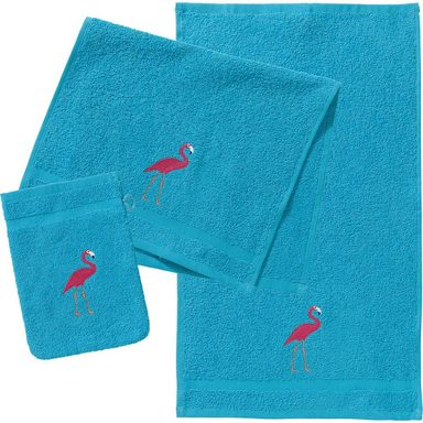 myToys Frottierset, 2 Handtücher & 1 Waschlappen, Flamingo, türkis